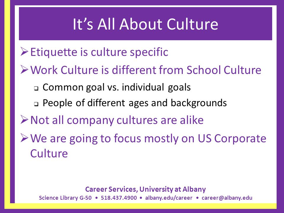 It's All About Culture Etiquette is culture specific