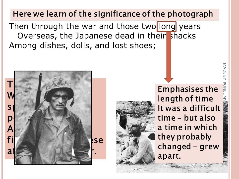 Here we learn of the significance of the photograph