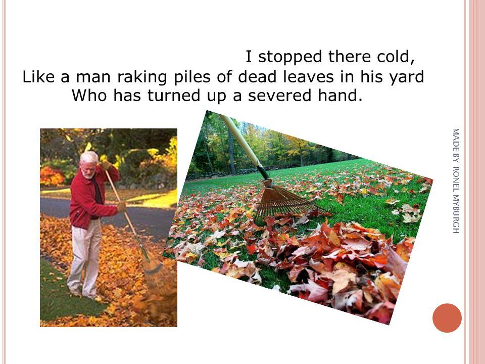 Like a man raking piles of dead leaves in his yard