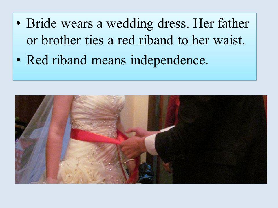 Bride wears a wedding dress