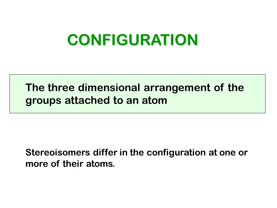 CONFIGURATION The three dimensional arrangement of the