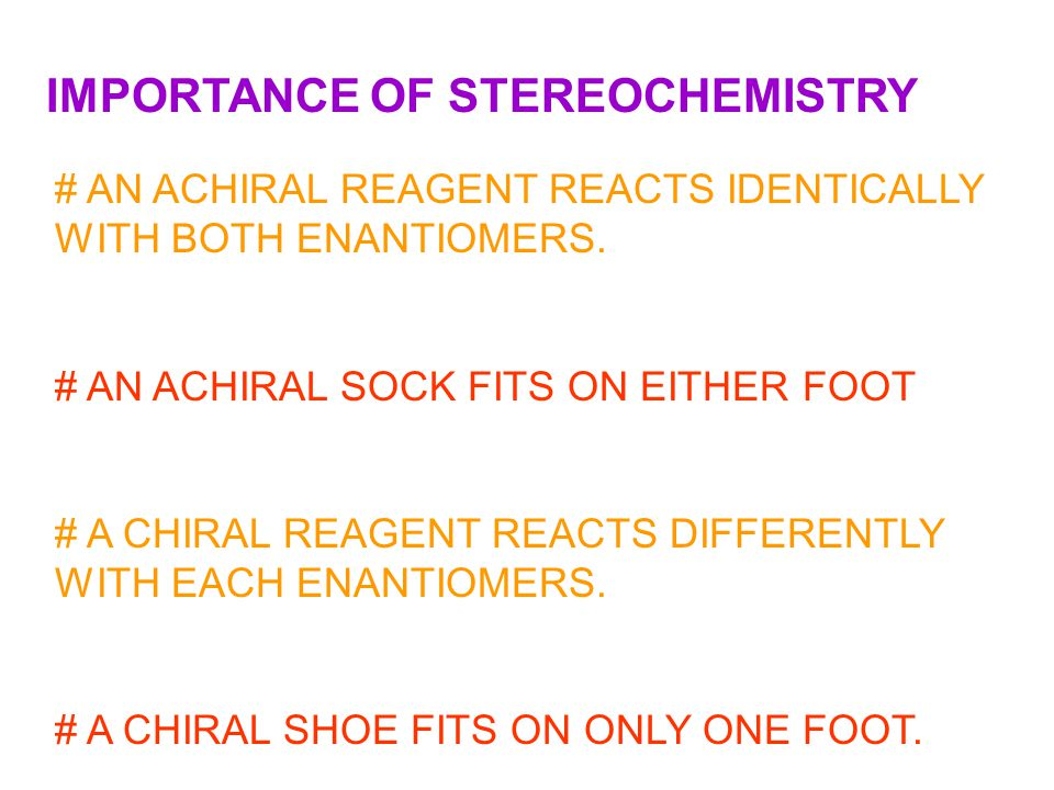 IMPORTANCE OF STEREOCHEMISTRY