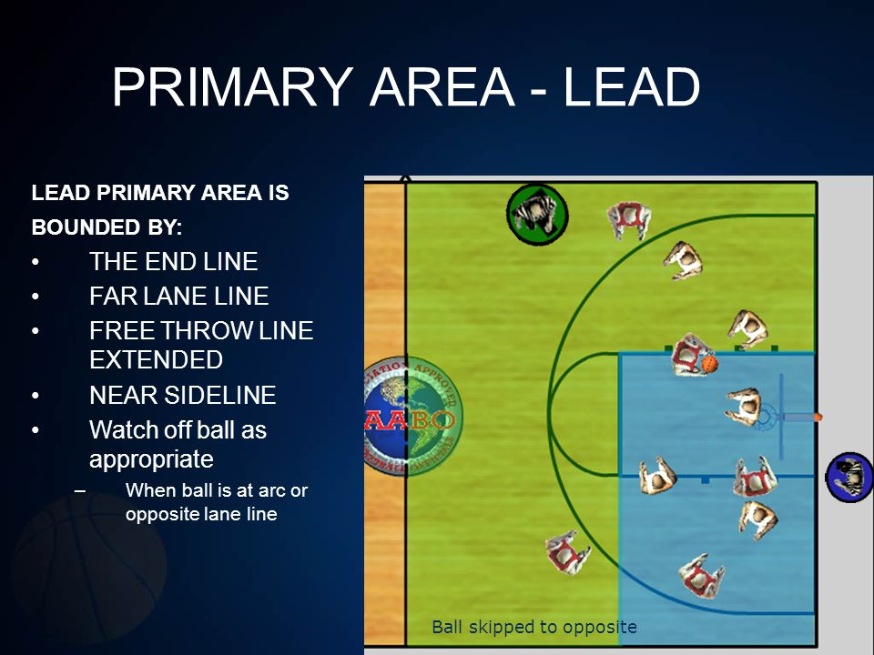 PRIMARY AREA - LEAD THE END LINE FAR LANE LINE