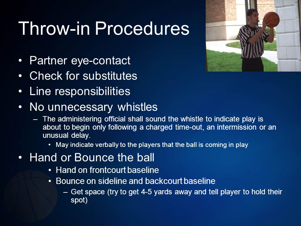 Throw-in Procedures Partner eye-contact Check for substitutes