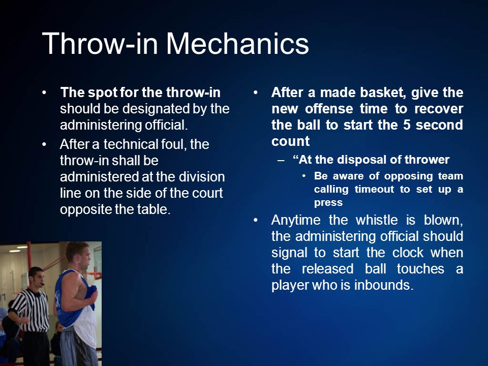 Throw-in Mechanics The spot for the throw-in should be designated by the administering official.
