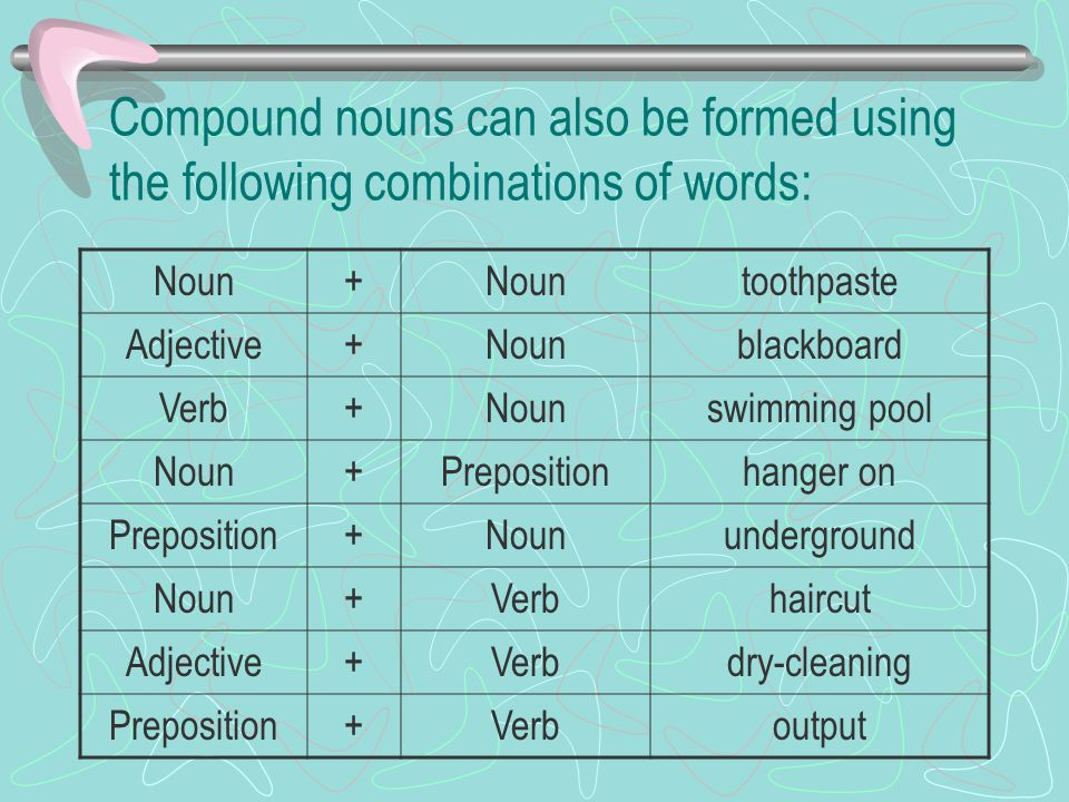 Compound nouns can also be formed using the following combinations of words: