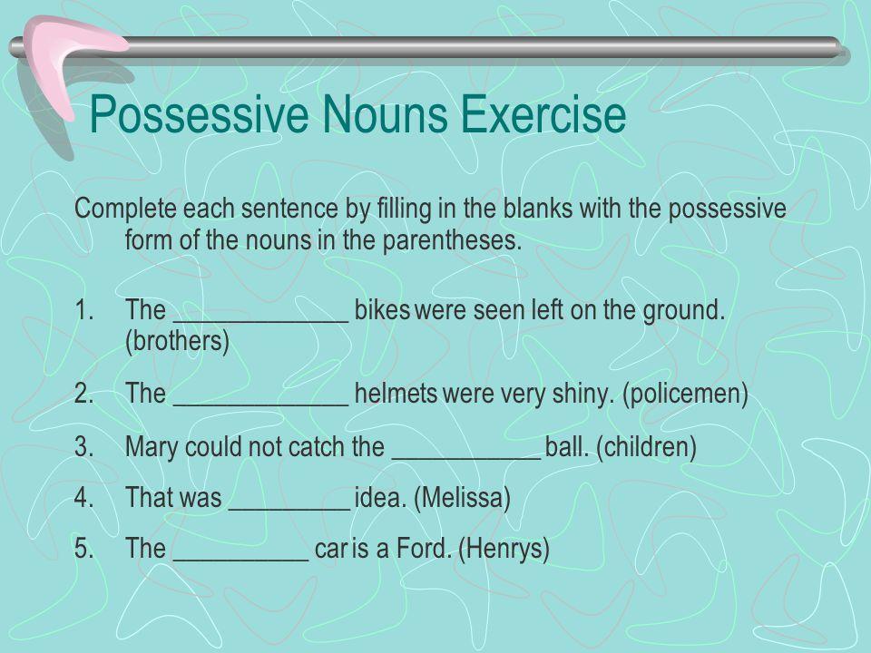 Possessive Nouns Exercise