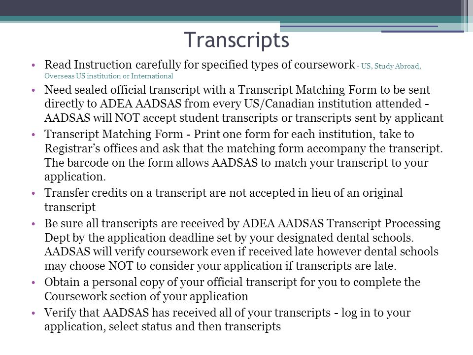 Transcripts Read Instruction carefully for specified types of coursework - US, Study Abroad, Overseas US institution or International.