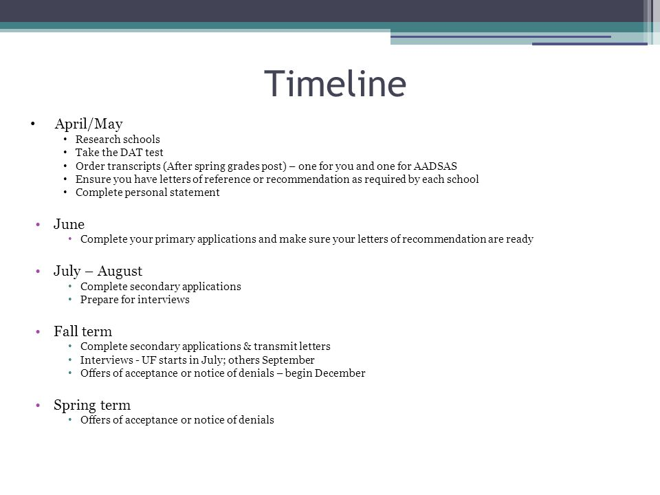 Timeline April/May June July – August Fall term Spring term