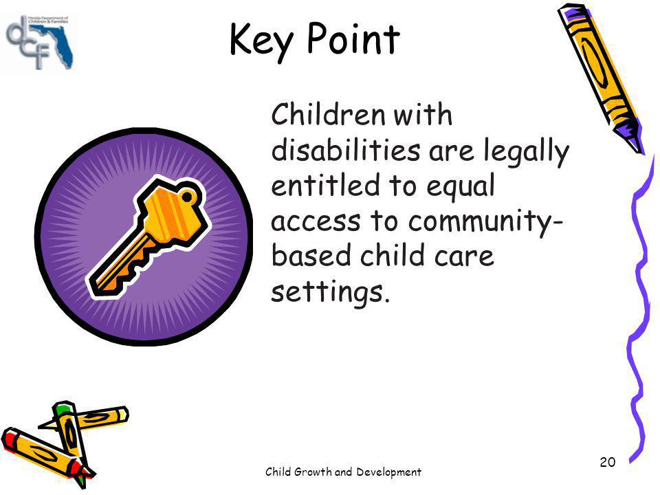 Key Point Children with disabilities are legally entitled to equal access to community-based child care settings.