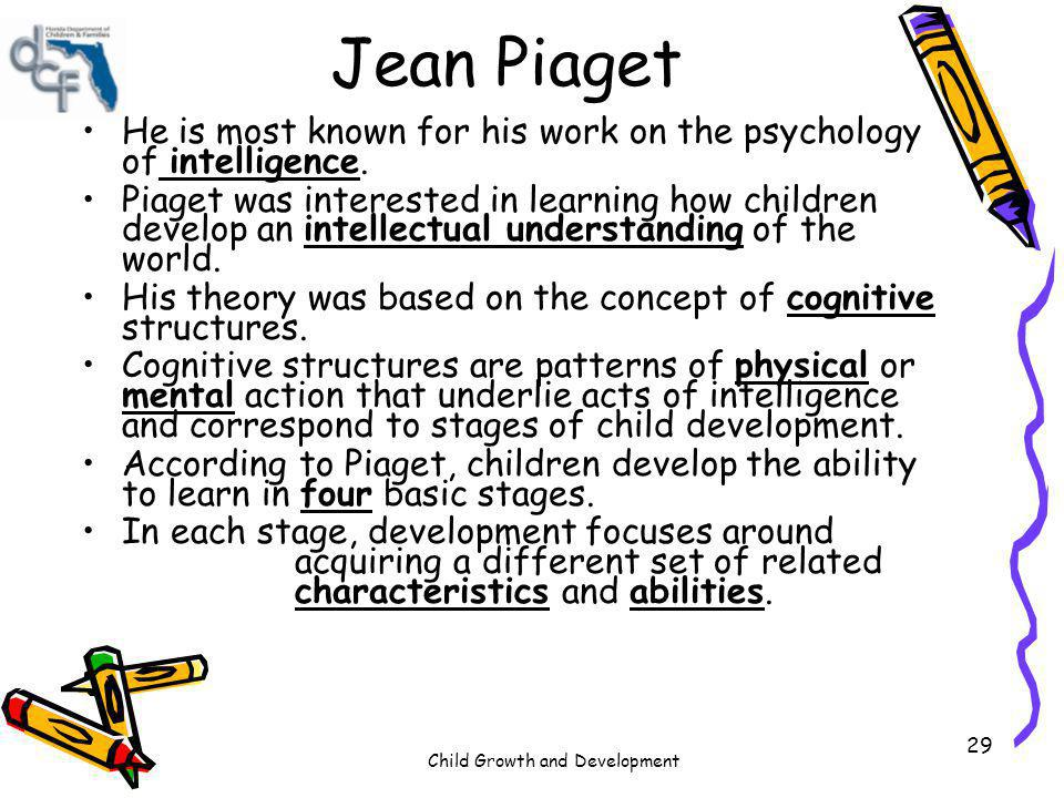 Jean Piaget He is most known for his work on the psychology of intelligence.