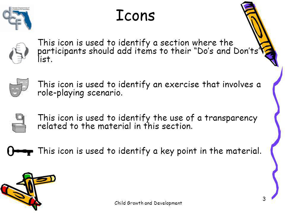 Icons This icon is used to identify a section where the participants should add items to their Do's and Don'ts list.