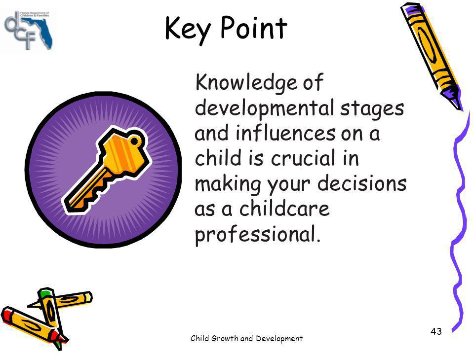Key Point Knowledge of developmental stages and influences on a child is crucial in making your decisions as a childcare professional.