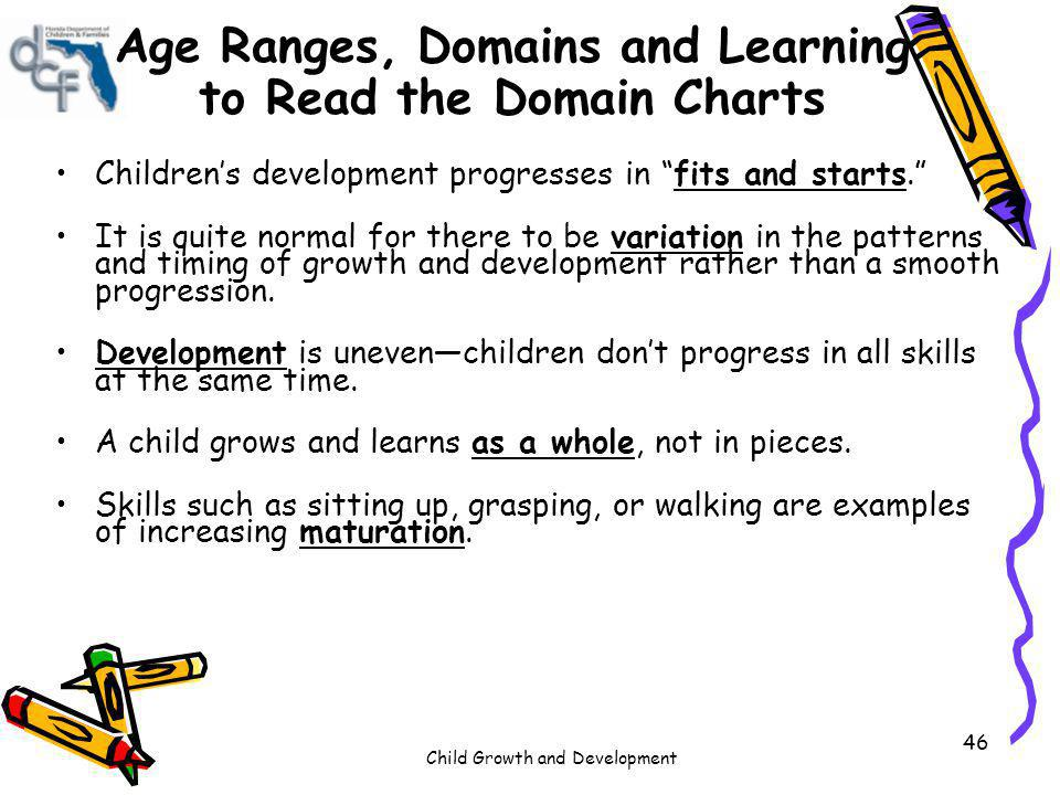 Age Ranges, Domains and Learning to Read the Domain Charts