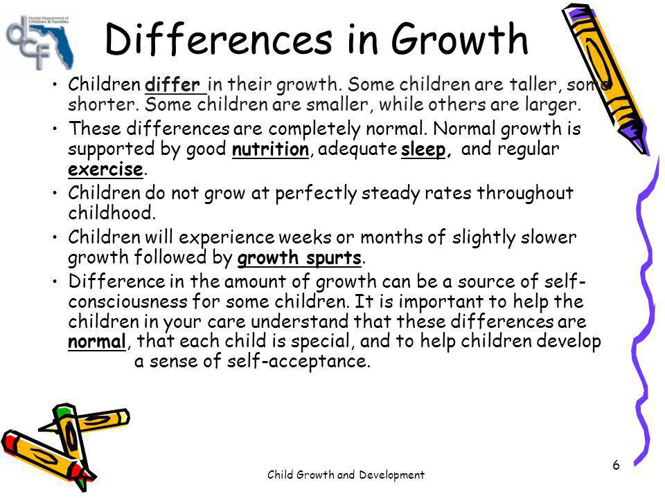 Differences in Growth Children differ in their growth. Some children are taller, some shorter. Some children are smaller, while others are larger.