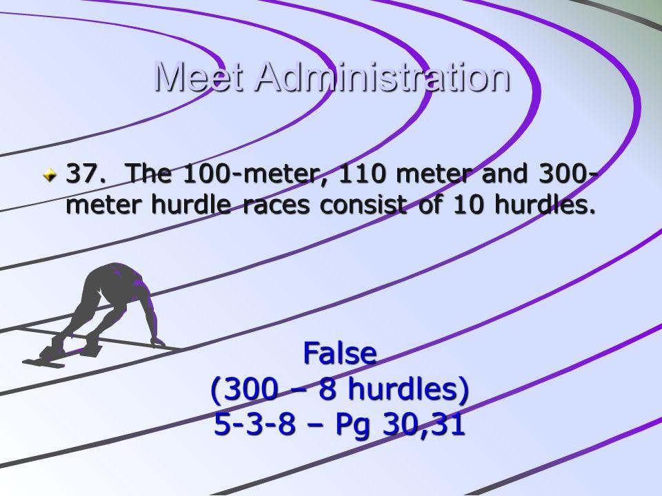 Meet Administration False (300 – 8 hurdles) 5-3-8 – Pg 30,31