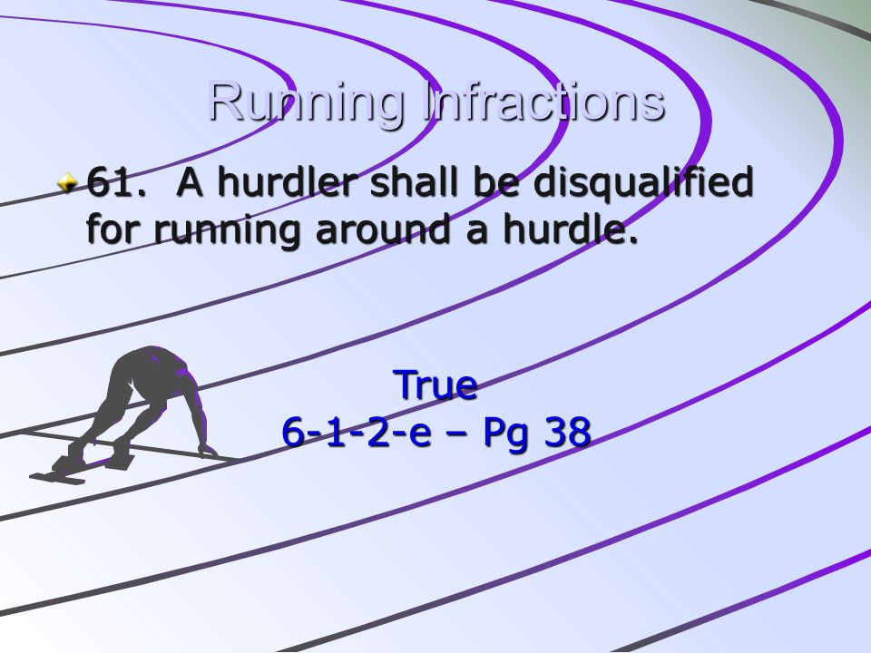 Running Infractions 61. A hurdler shall be disqualified for running around a hurdle.