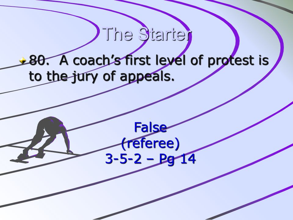 The Starter 80. A coach's first level of protest is to the jury of appeals.