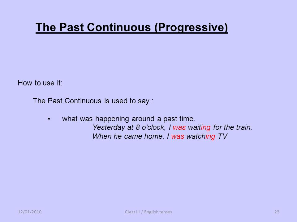 Class III / English tenses