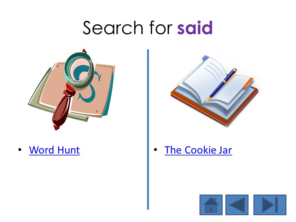 Search for said Word Hunt The Cookie Jar
