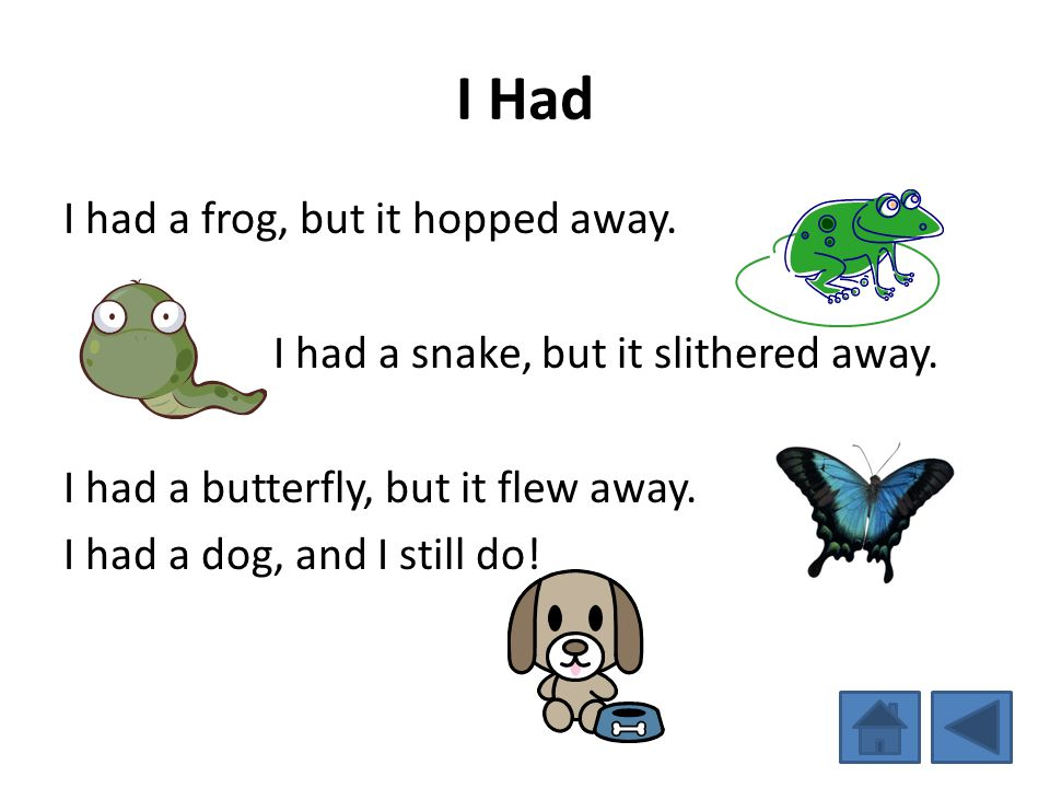 I Had I had a frog, but it hopped away. I had a snake, but it slithered away.