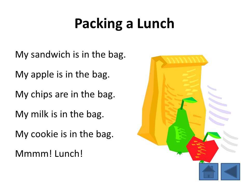 Packing a Lunch My sandwich is in the bag. My apple is in the bag.