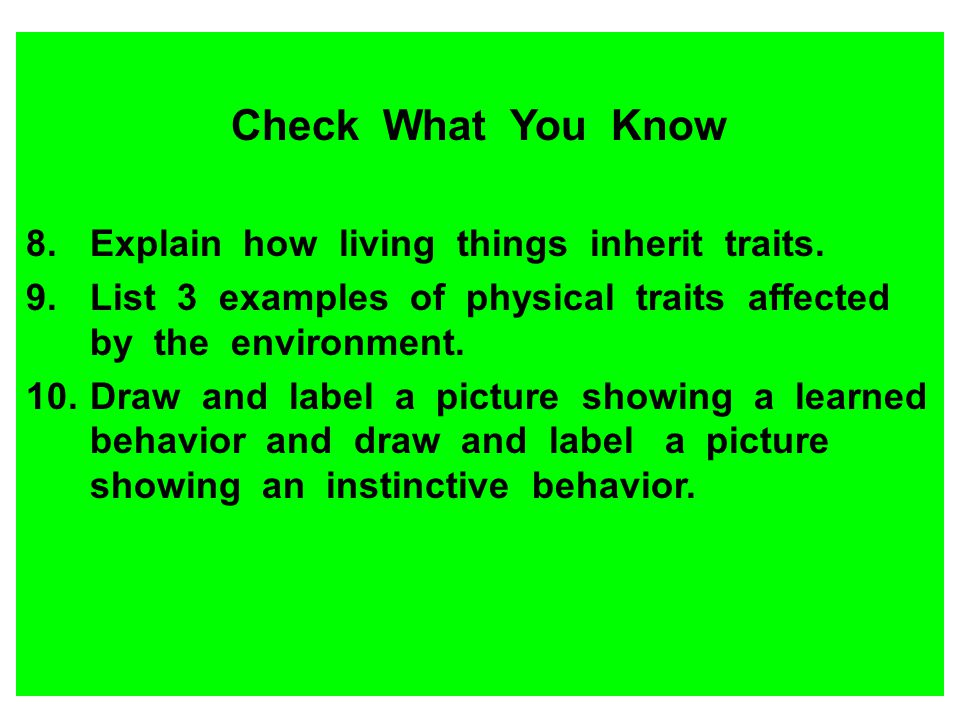 Check What You Know Explain how living things inherit traits.