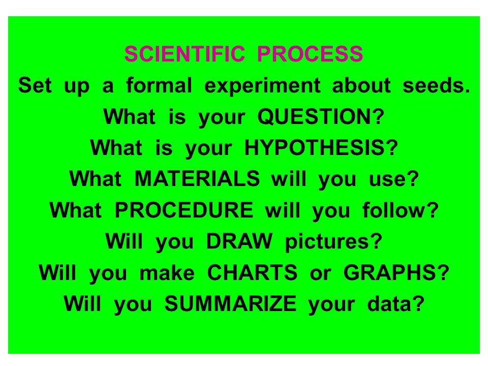 Set up a formal experiment about seeds. What is your QUESTION