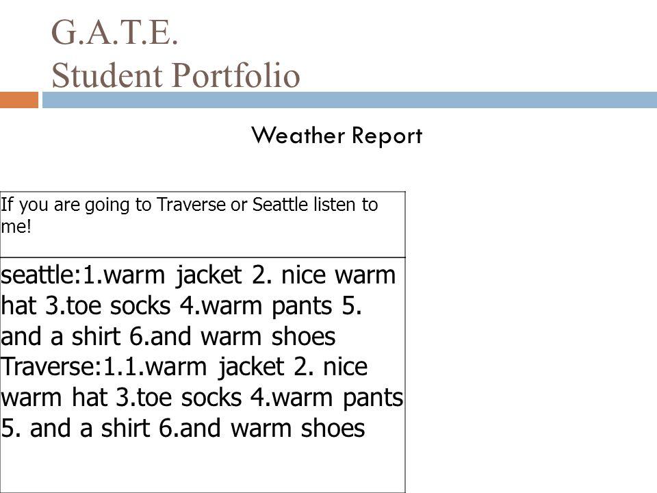 G.A.T.E. Student Portfolio
