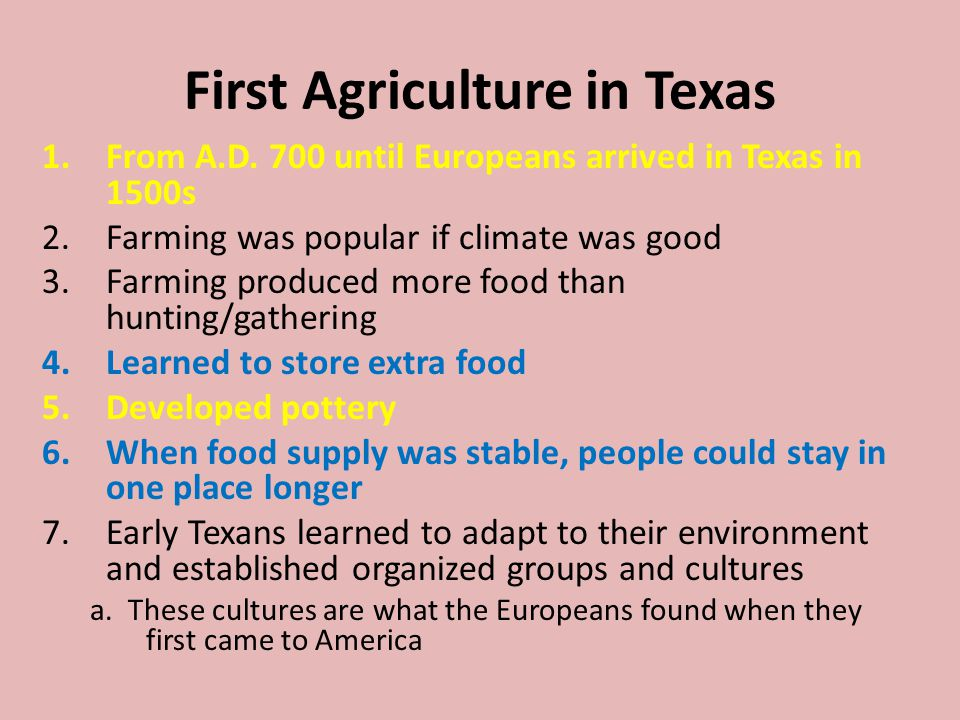 First Agriculture in Texas
