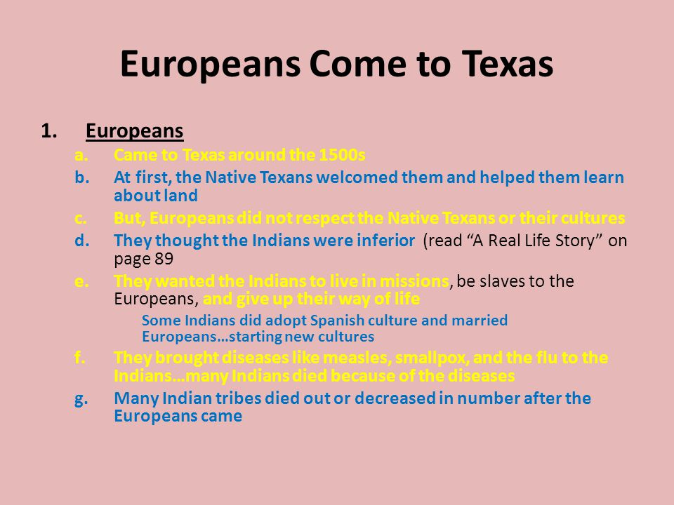 Europeans Come to Texas