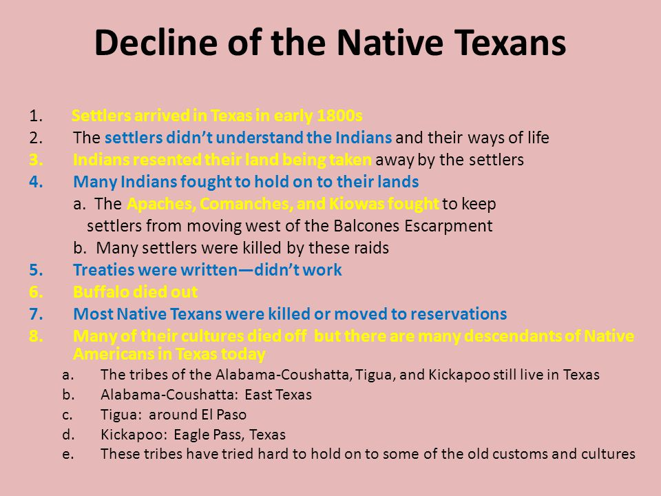 Decline of the Native Texans