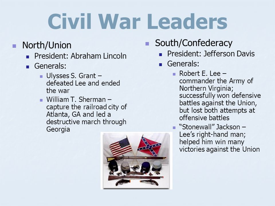 Civil War Leaders South/Confederacy North/Union