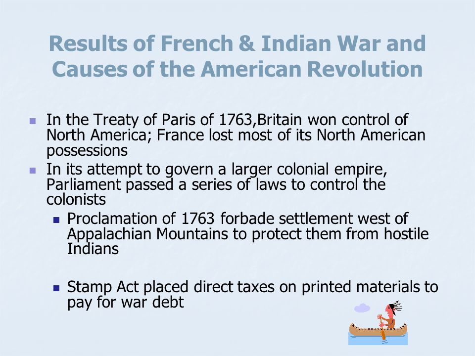 Results of French & Indian War and Causes of the American Revolution