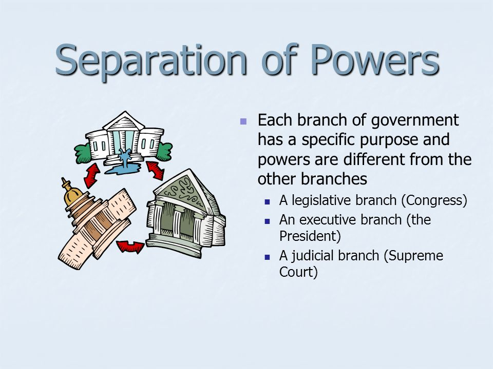Separation of Powers Each branch of government has a specific purpose and powers are different from the other branches.