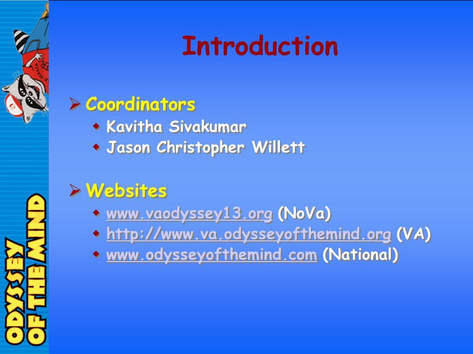 Introduction Coordinators Websites Kavitha Sivakumar