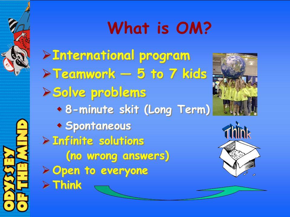 What is OM International program Teamwork — 5 to 7 kids