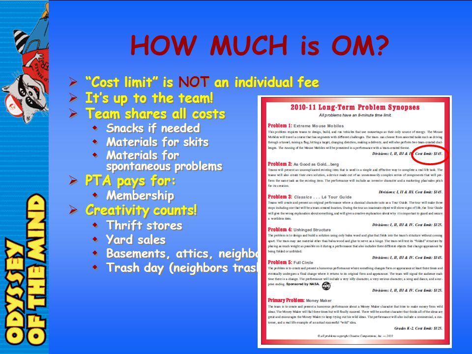 HOW MUCH is OM Cost limit is NOT an individual fee