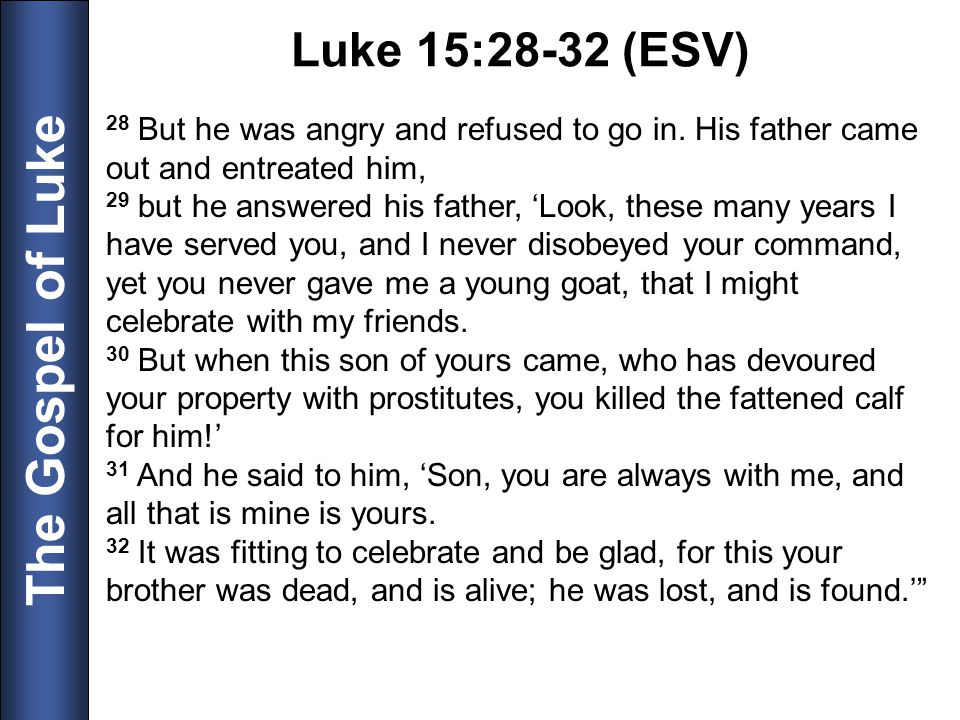 Luke 15:28-32 (ESV) 28 But he was angry and refused to go in. His father came out and entreated him,