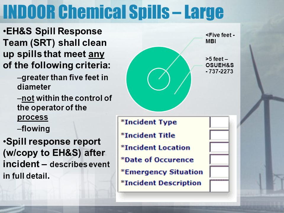 INDOOR Chemical Spills – Large