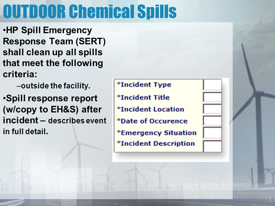 OUTDOOR Chemical Spills