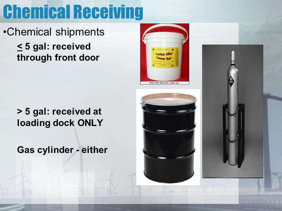 Chemical Receiving Chemical shipments