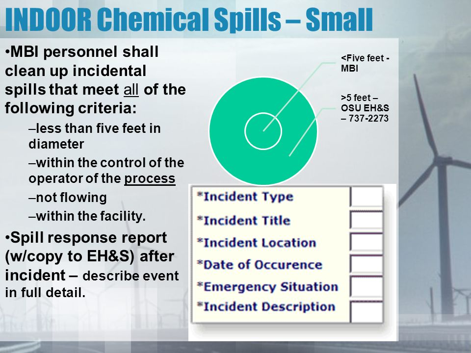 INDOOR Chemical Spills – Small