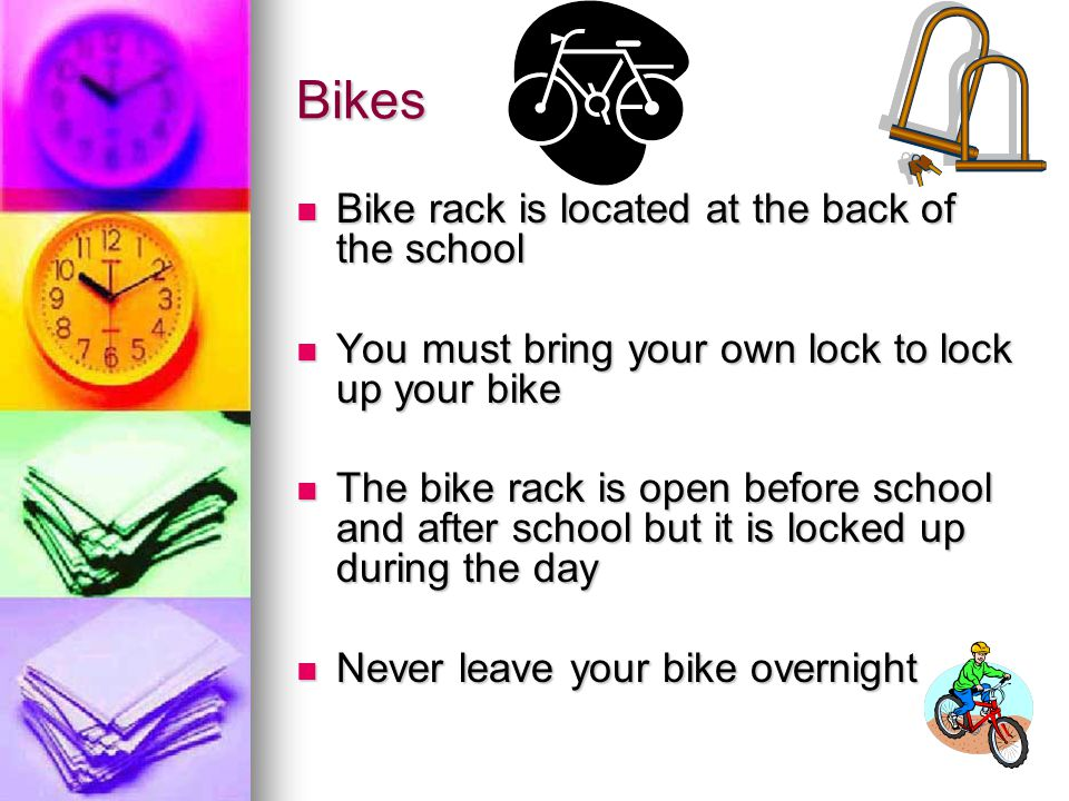 Bikes Bike rack is located at the back of the school