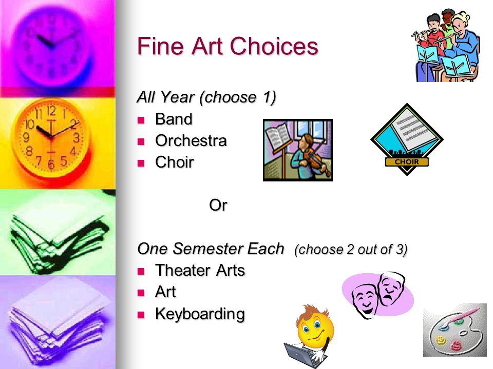 Fine Art Choices All Year (choose 1) Band Orchestra Choir Or