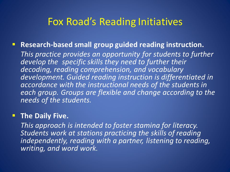 Fox Road's Reading Initiatives
