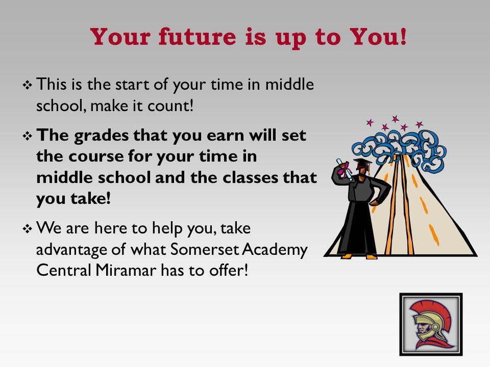 Your future is up to You! This is the start of your time in middle school, make it count!