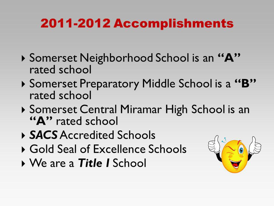 2011-2012 Accomplishments Somerset Neighborhood School is an A rated school. Somerset Preparatory Middle School is a B rated school.