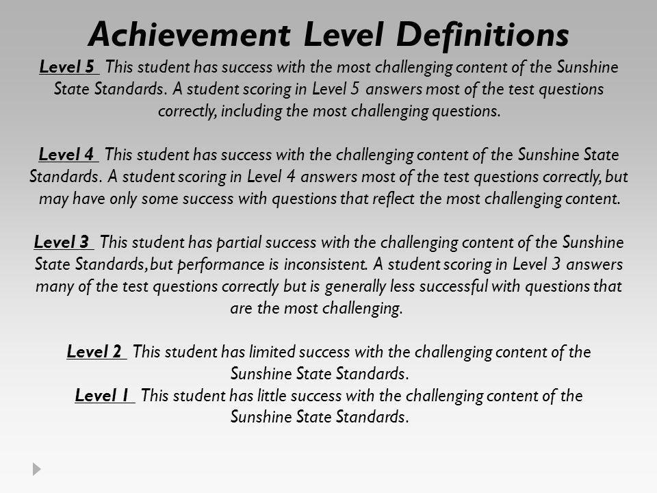 Achievement Level Definitions Level 5