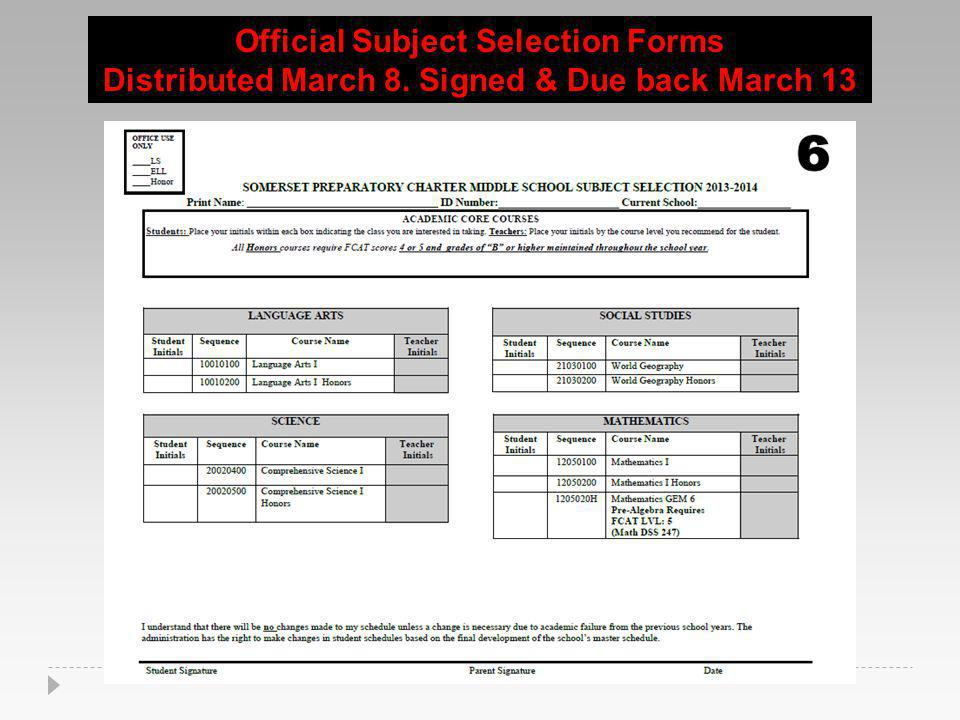 Official Subject Selection Forms